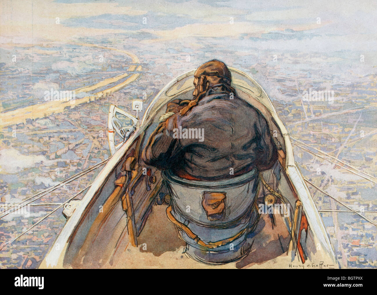Birds eye view of Paris from a reconnaissance plane during the First World War. - Stock Image