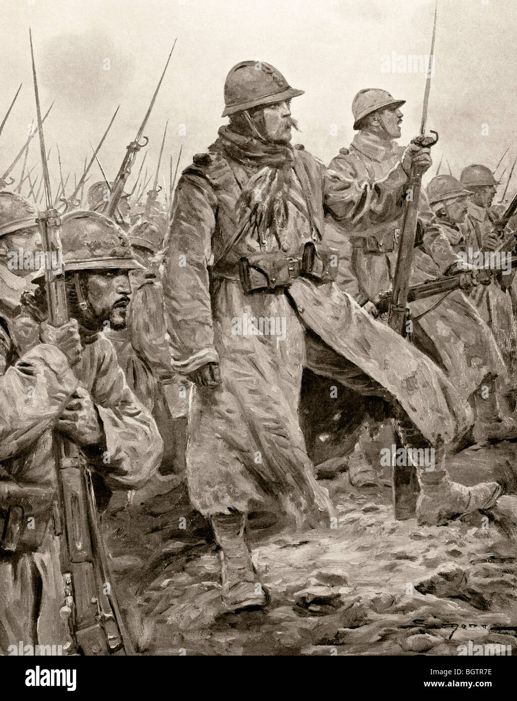 French infantry stand at the ready with fixed bayonets somewhere on the Western Front. - Stock Image