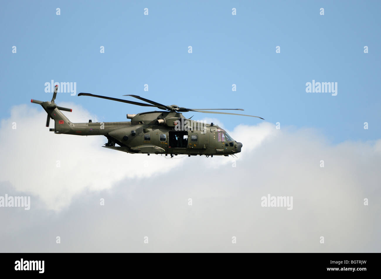 Merlin Helicopter in flight, training flight over Oxfordshire, UK. Stock Photo