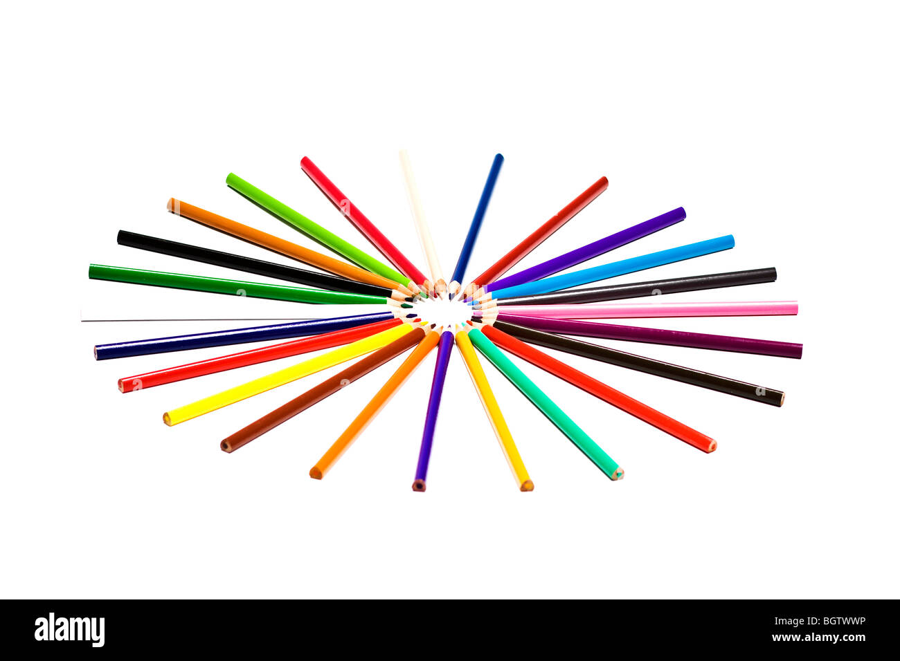Wooden crayon circle - Stock Image