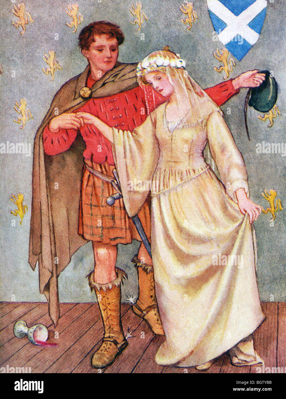 Lochinvar, the hero of a ballad in the poem Marmion, rides off with Ellen just as she is about to be married to - Stock Image