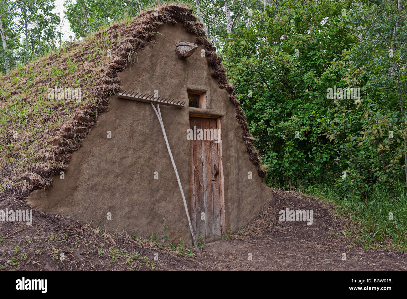 Primitive dwelling with sod roof - Stock Image