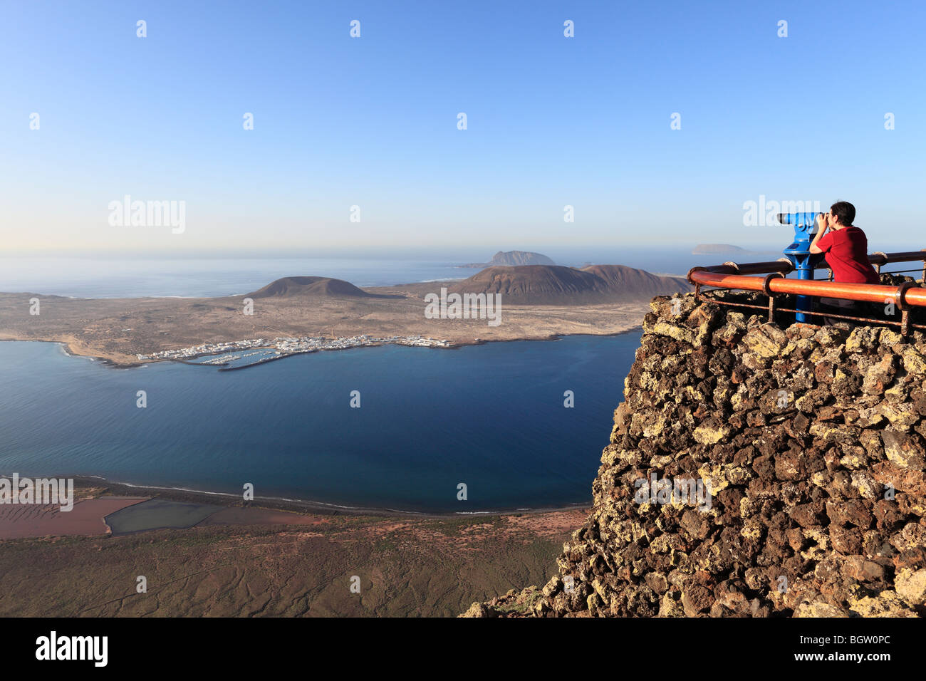 La Graciosa Island, view from Mirador del Rio, Lanzarote, Canary Islands, Spain, Europe Stock Photo