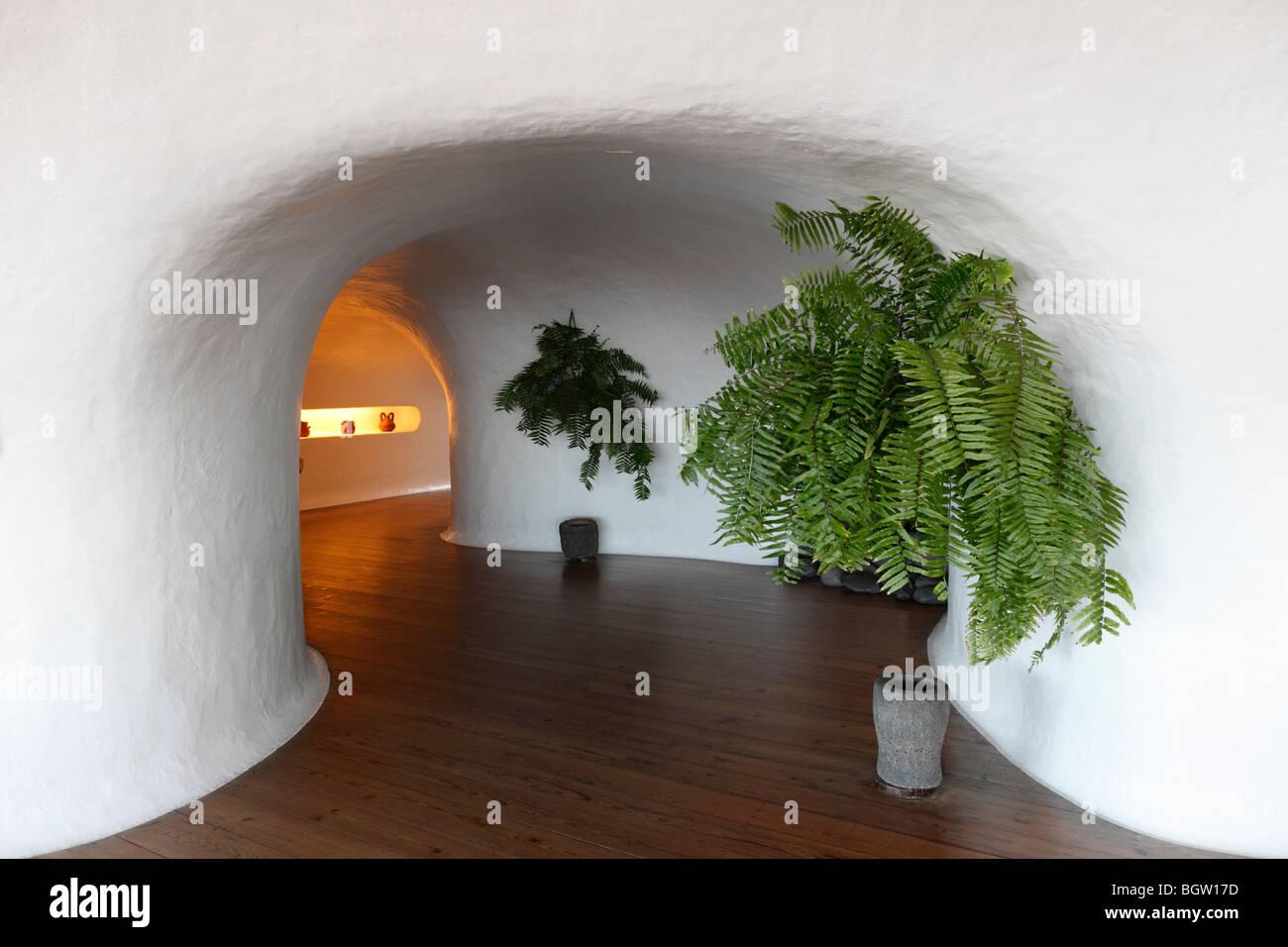 Corridor with ferns in Mirador del Rio, designed by César Manrique, Lanzarote, Canary Islands, Spain, Europe - Stock Image