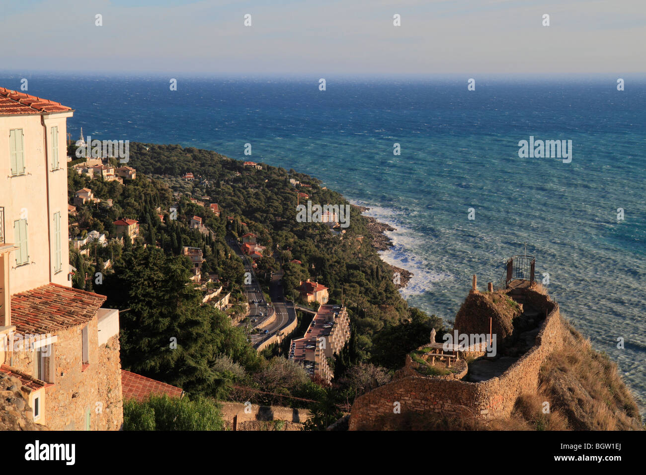 View from the Place des Deux Frères, on the Cap Martin in a storm, village of Roquebrune, Roquebrune Cap Martin, - Stock Image