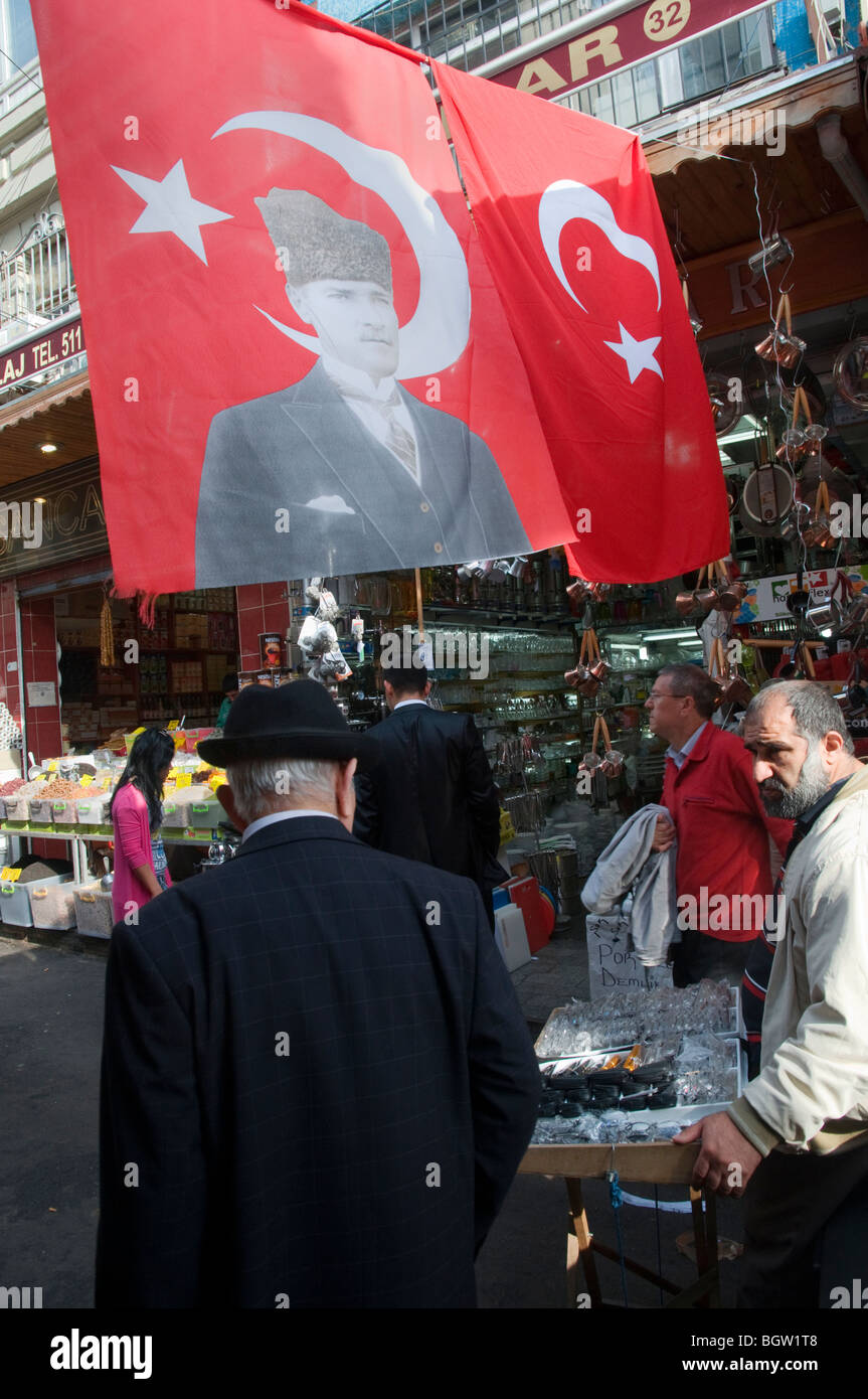 Flag with the image of Kemal Ataturk near the the Misir Carsisi (Egyptian bazaar). Istanbul. Turkey. - Stock Image