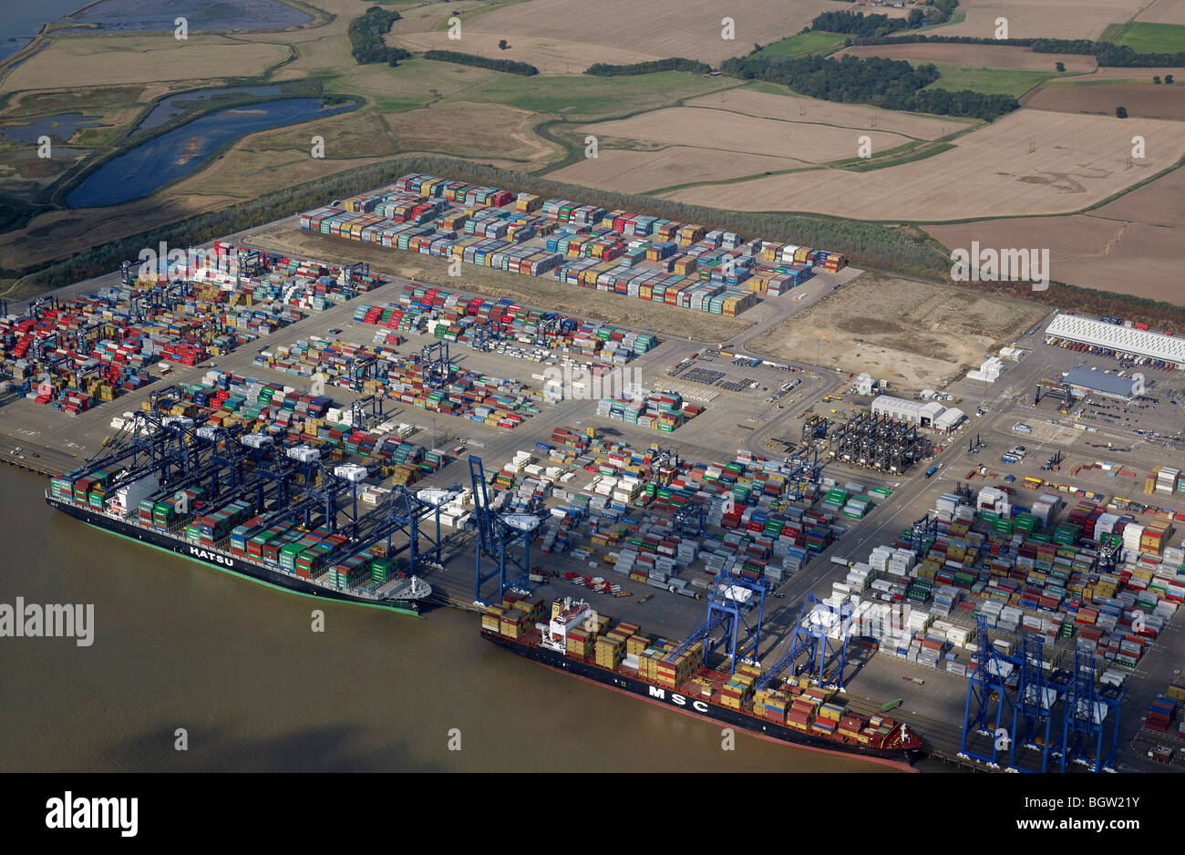 Felixstowe Port, from the Air, Summer 2009, Eastern England - Stock Image