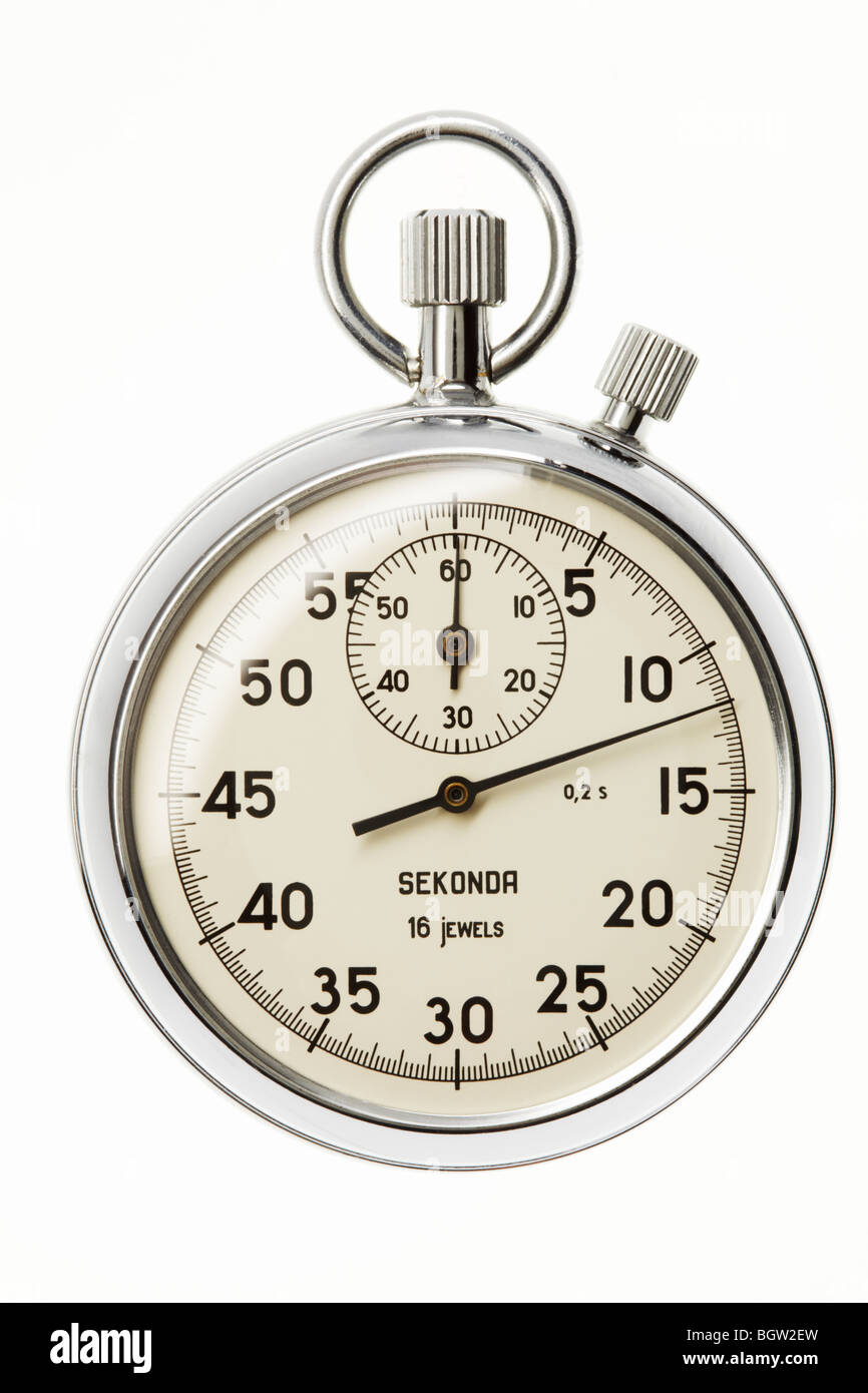 Silver Stop Watch - Stock Image