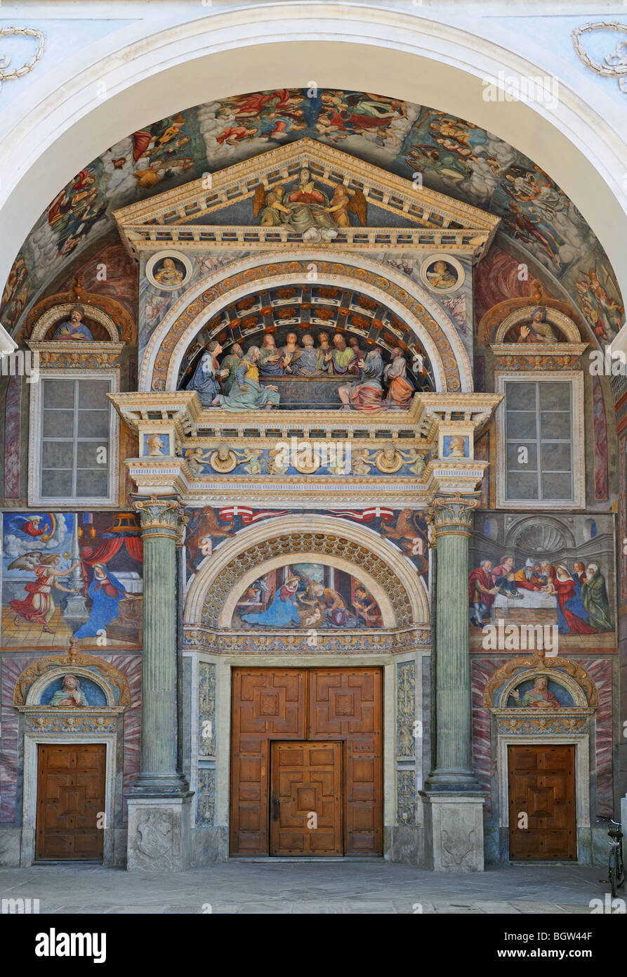 Polychromatic tableau at portico of Cathedral Church catedrale duomo of Saint John the Baptist in Aosta Italy - Stock Image