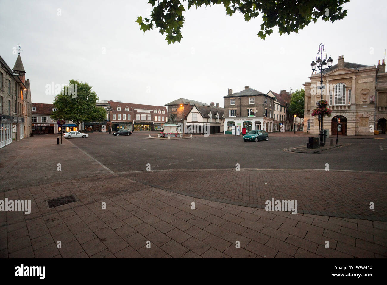 empty deserted town centre of Bury St Edmunds, UK at 5.20am - Stock Image