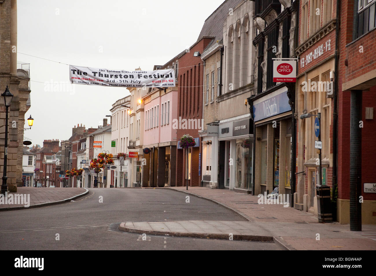 empty deserted town centre of Bury St Edmunds, UK at 5.30am - Stock Image