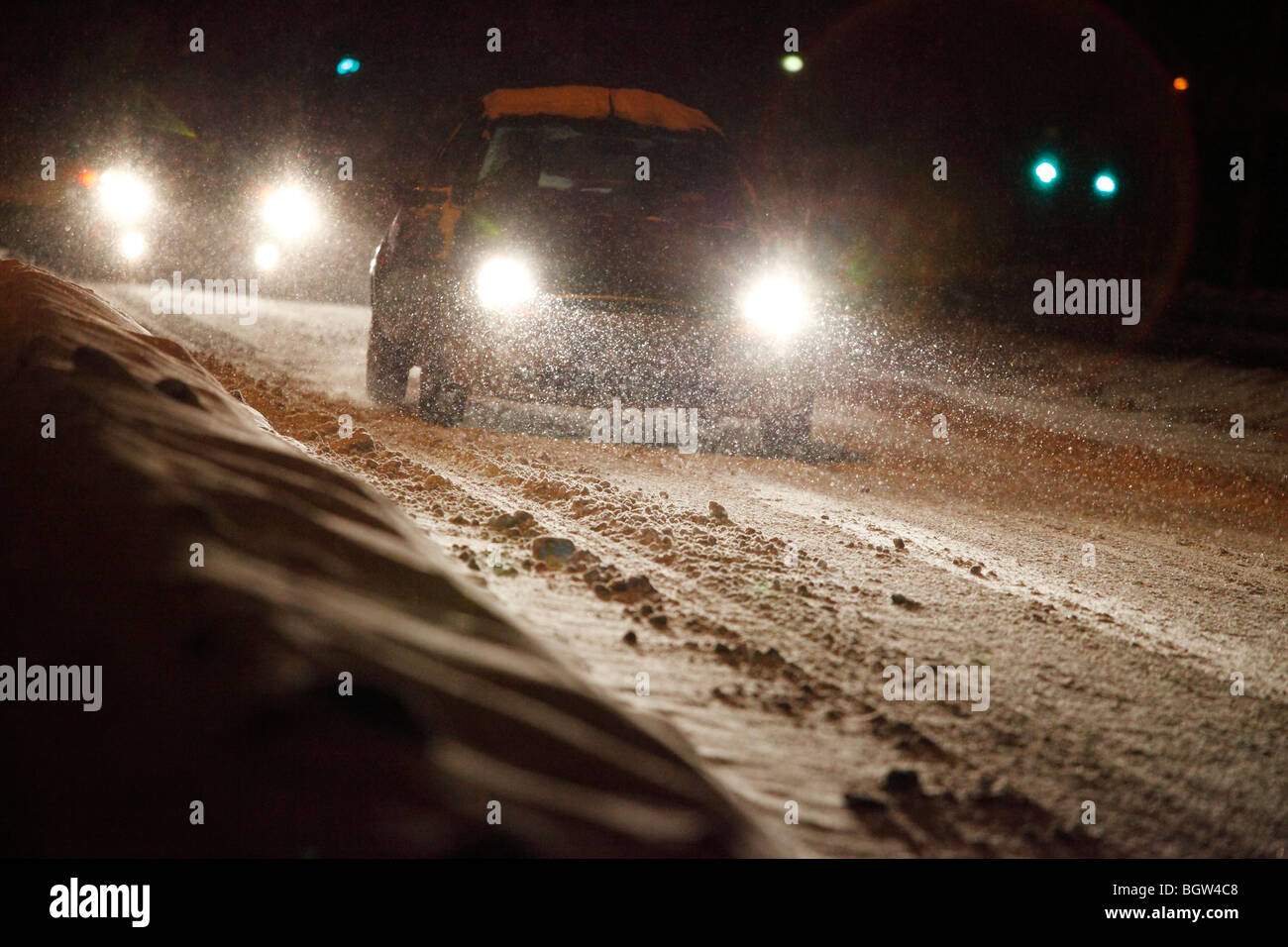 driving in heavy snowfall - Stock Image