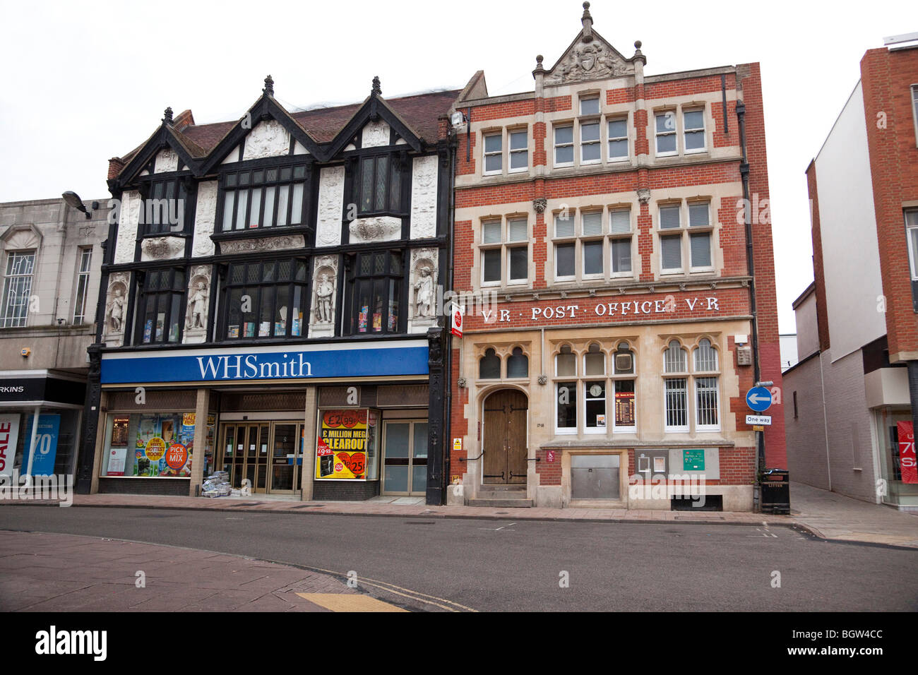 WH Smith and main Post Office in  town centre of Bury St Edmunds, UK - Stock Image