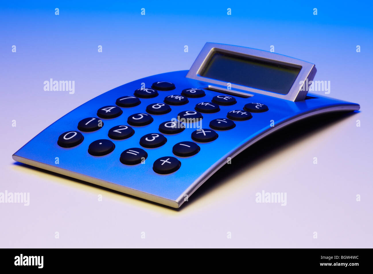 Silver / Blue Curved Calculator - Stock Image
