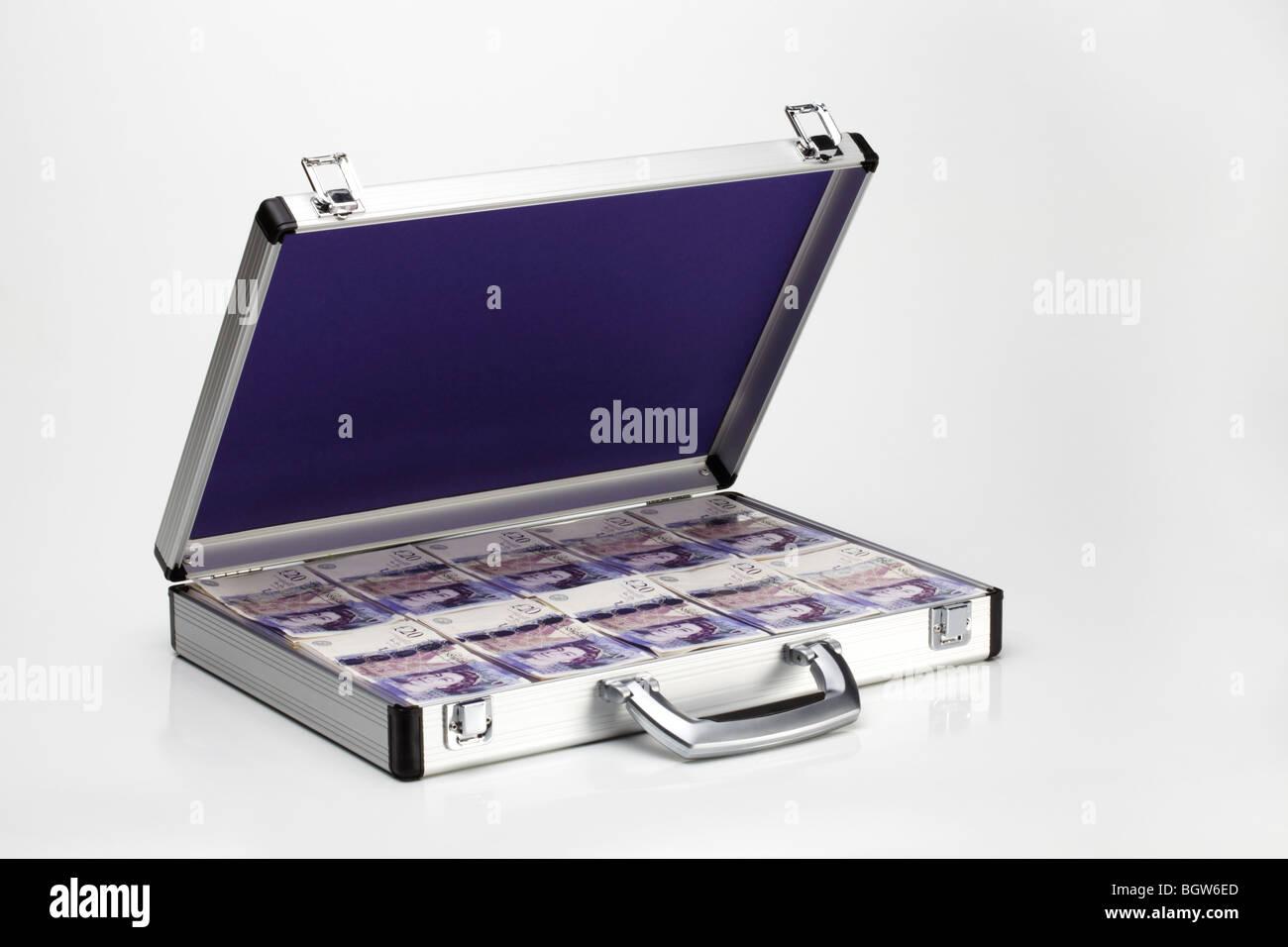 Twenty Pound Notes in Silver Metal Brief Case - Stock Image