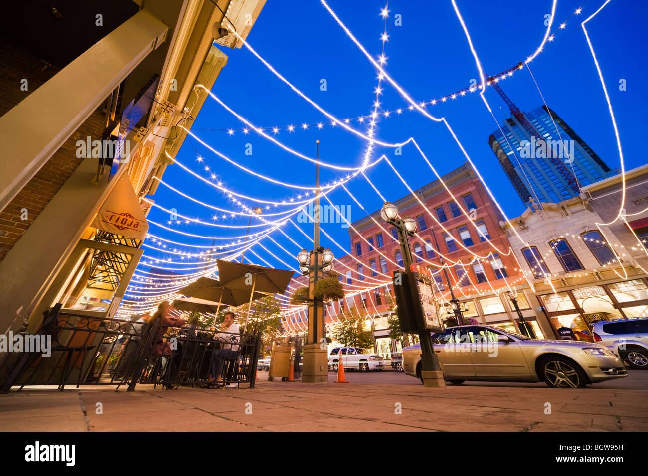 Denver Colorado LoDo. Best restaurant in Denver Rioja on Larimer Square, - Stock Image