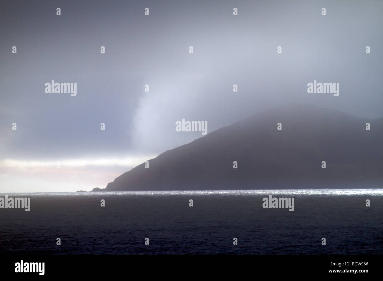 Fog shrouds South Georgia Island - Stock Image