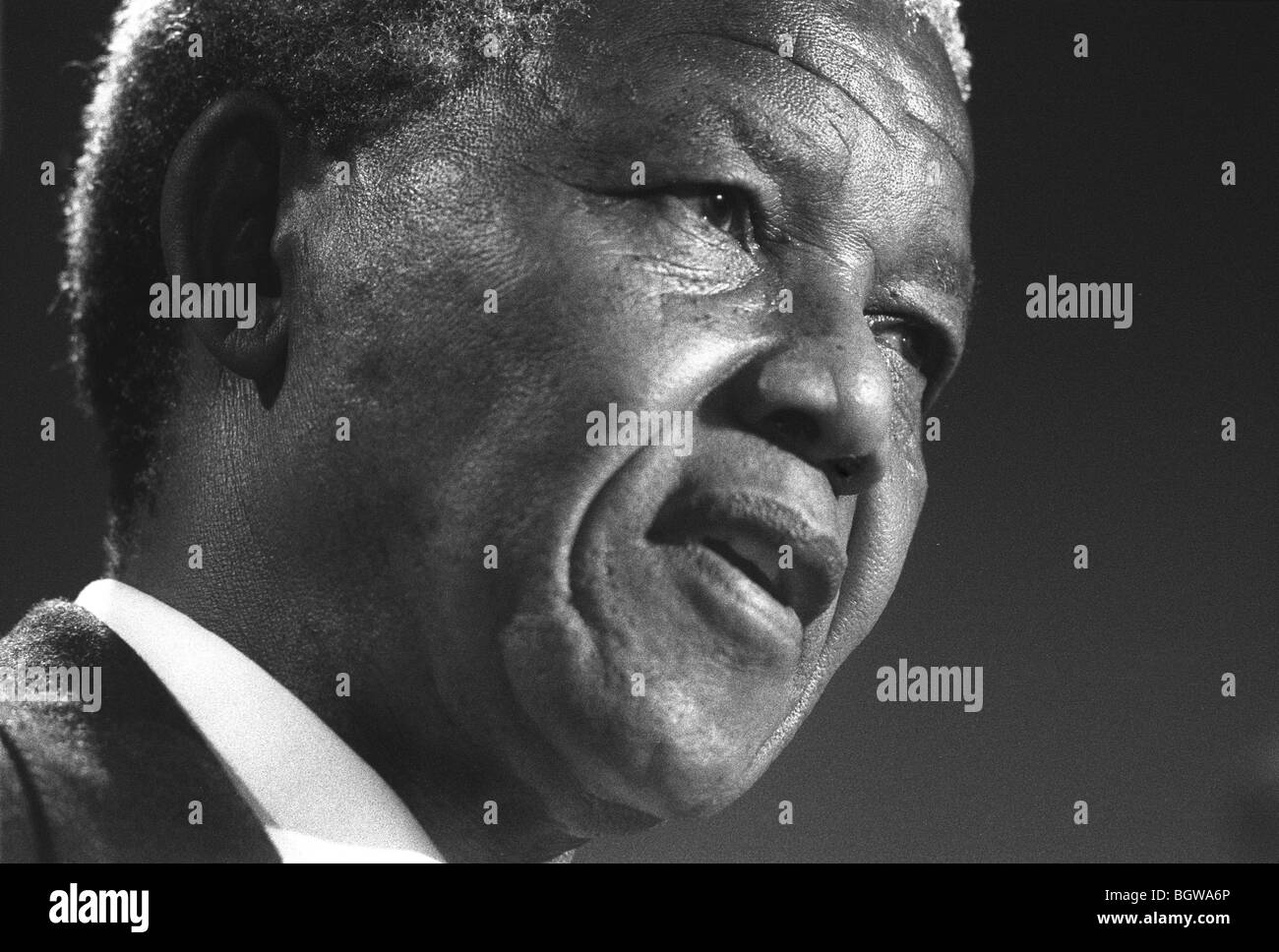 Nelson Mandela in Glasgow, Scotland, on 9th October 1993. Mandela was in Glasgow to receive the 'Freedom of - Stock Image