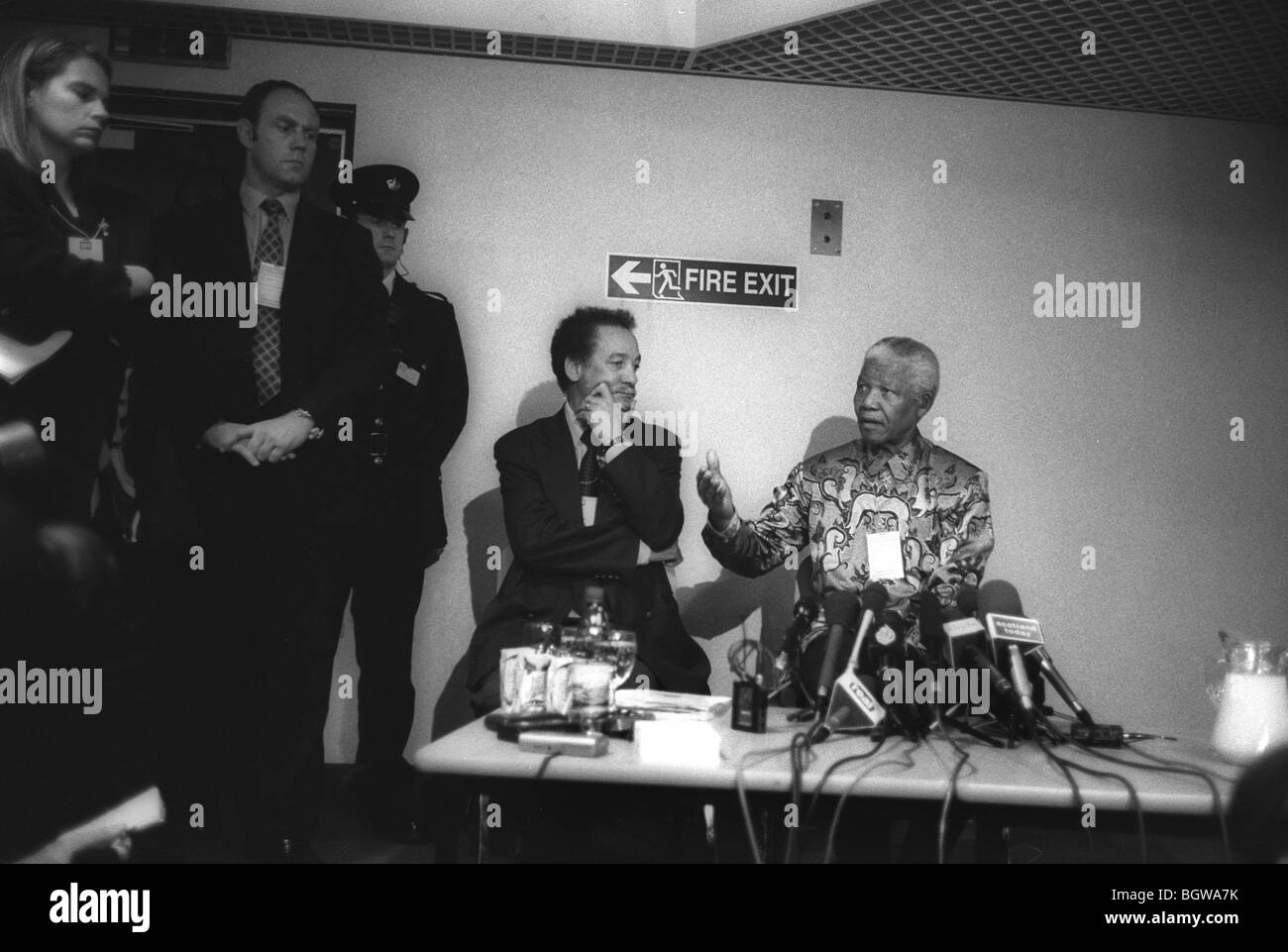 Nelson Mandela holds press conference after visit to 'Lockerbie Bomber' Abdelbaset Ali Mohmed Al Megrahi, - Stock Image