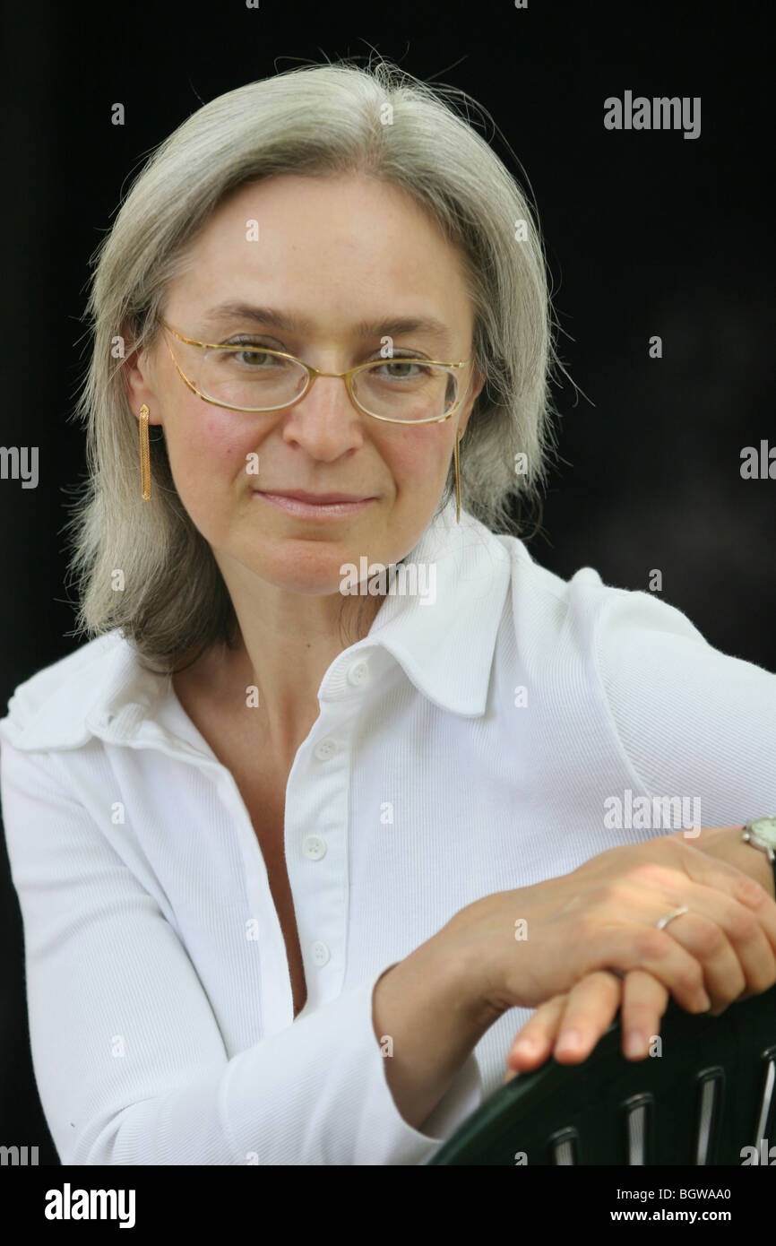 Anna Politkovskaya, controversial, outspoken Russian journalist and critic of the Russian government regime of Vladimir - Stock Image