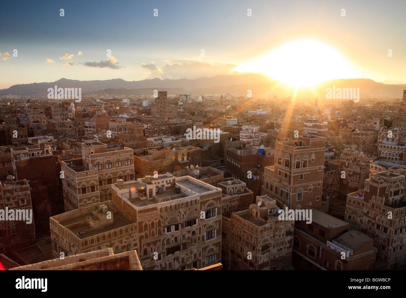 Sunset over Sana'a, Yemen - Stock Image