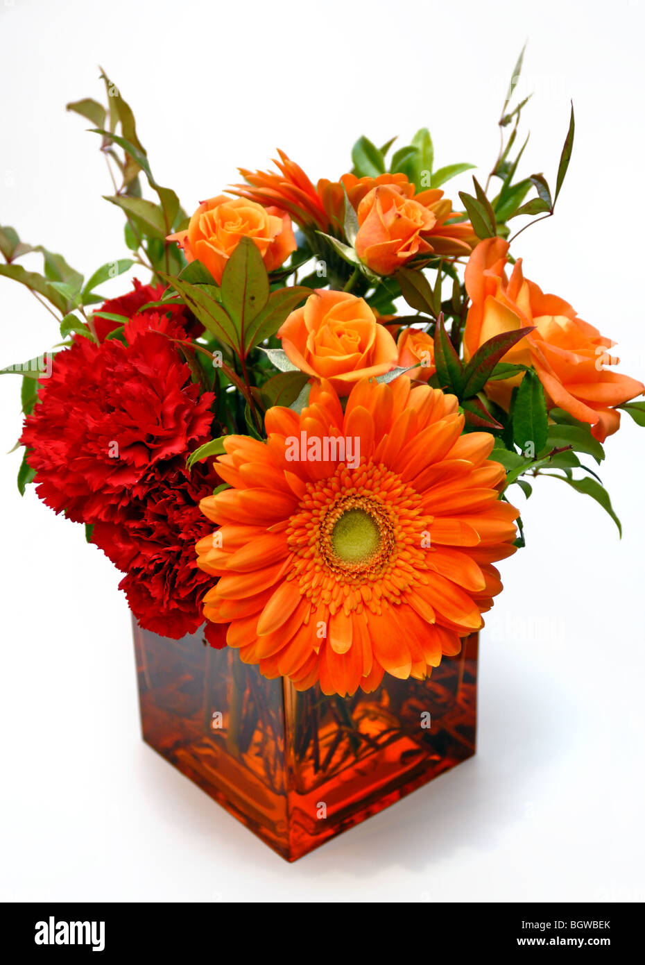 A colorful orange flower arrangement containing daisies and roses a colorful orange flower arrangement containing daisies and roses in a square glass vase izmirmasajfo