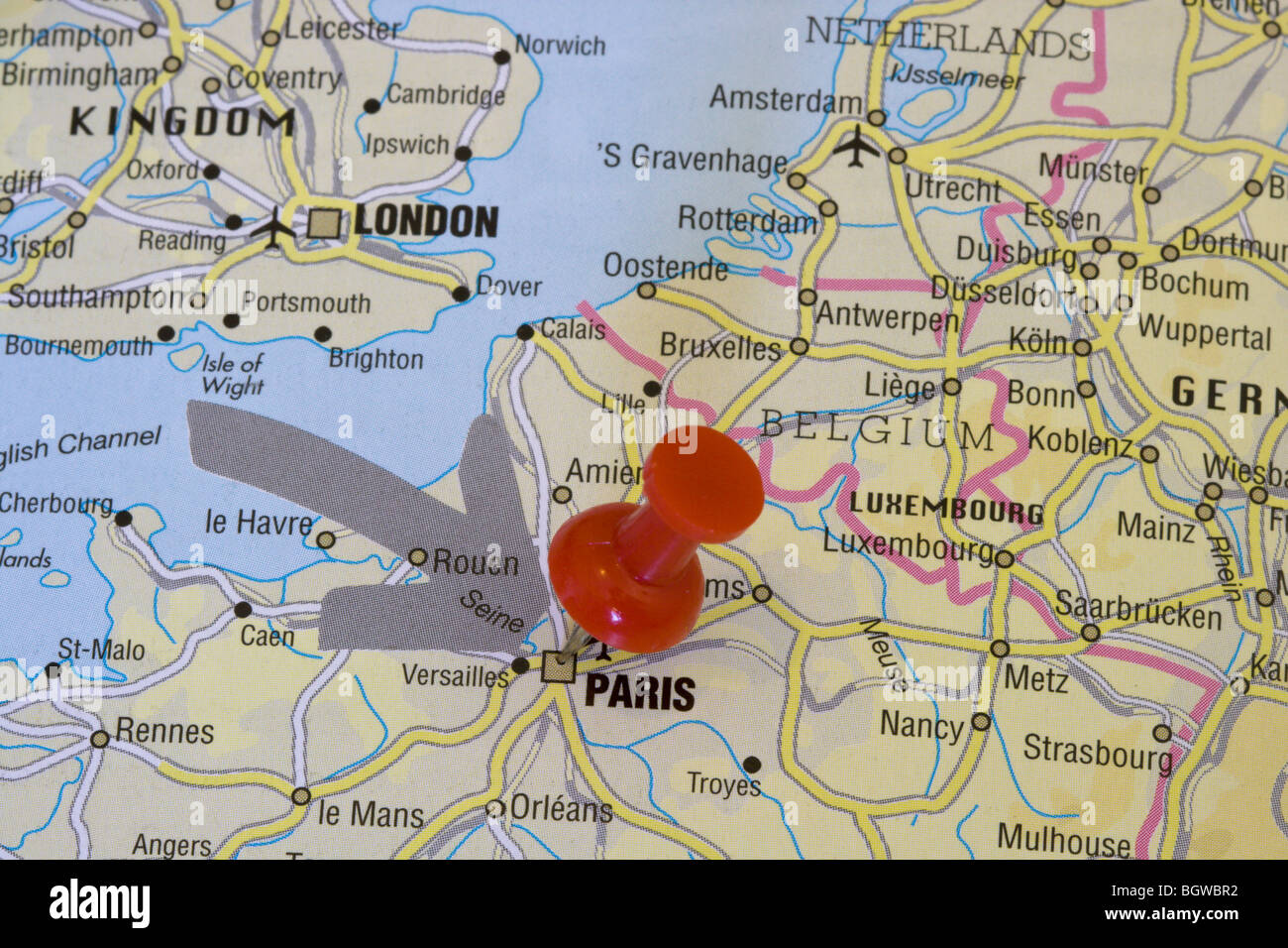 Map Of France With Paris.Map Of France With Pin On Paris Stock Photo 27602934 Alamy