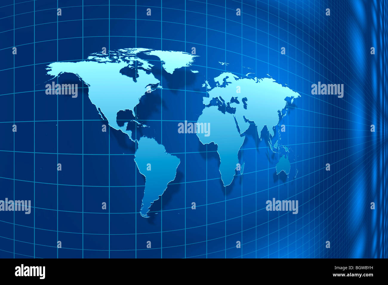 Perspective view of a light blue world map against a dark blue stock perspective view of a light blue world map against a dark blue background with a blue grid 3d illustration gumiabroncs Images