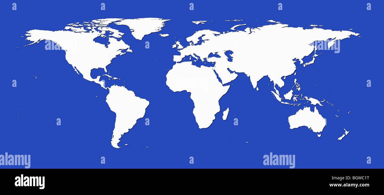 White world map against blue background. - Stock Image