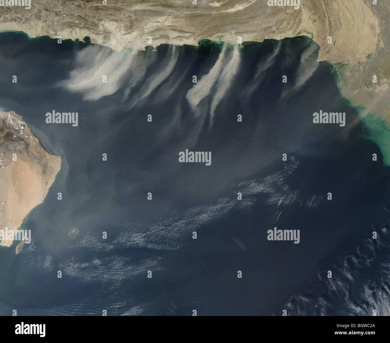 Satellite view captures dust across the Arabian Sea Satellite: Aqua, 2009 courtesy NASA - Stock Image