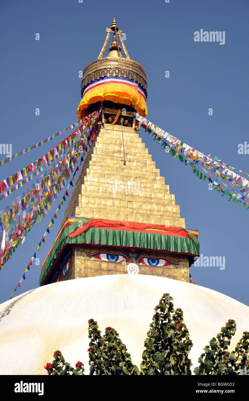 The Stupa of the Bodnath Temple, Kathmandu, Nepal. - Stock Image