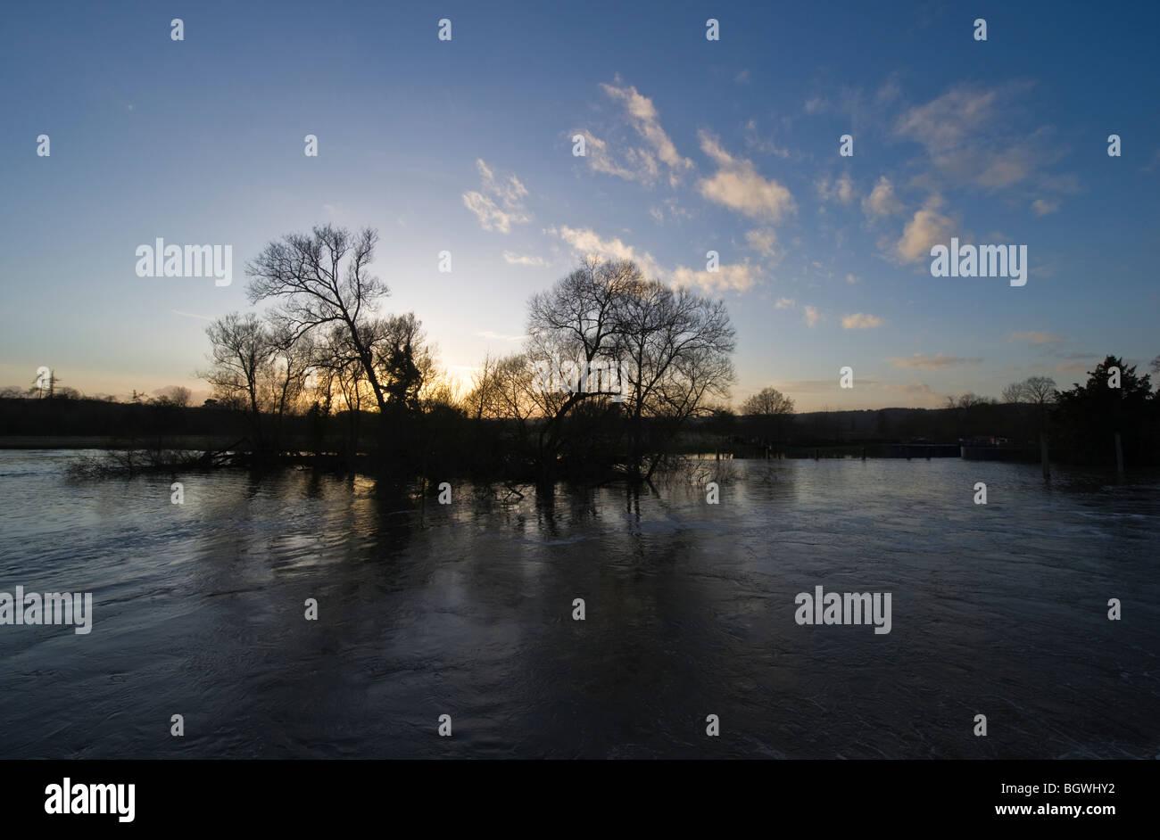 Winter sunset over the River Thames at Hambleden Weir Mill End Buckinghamshire UK Stock Photo