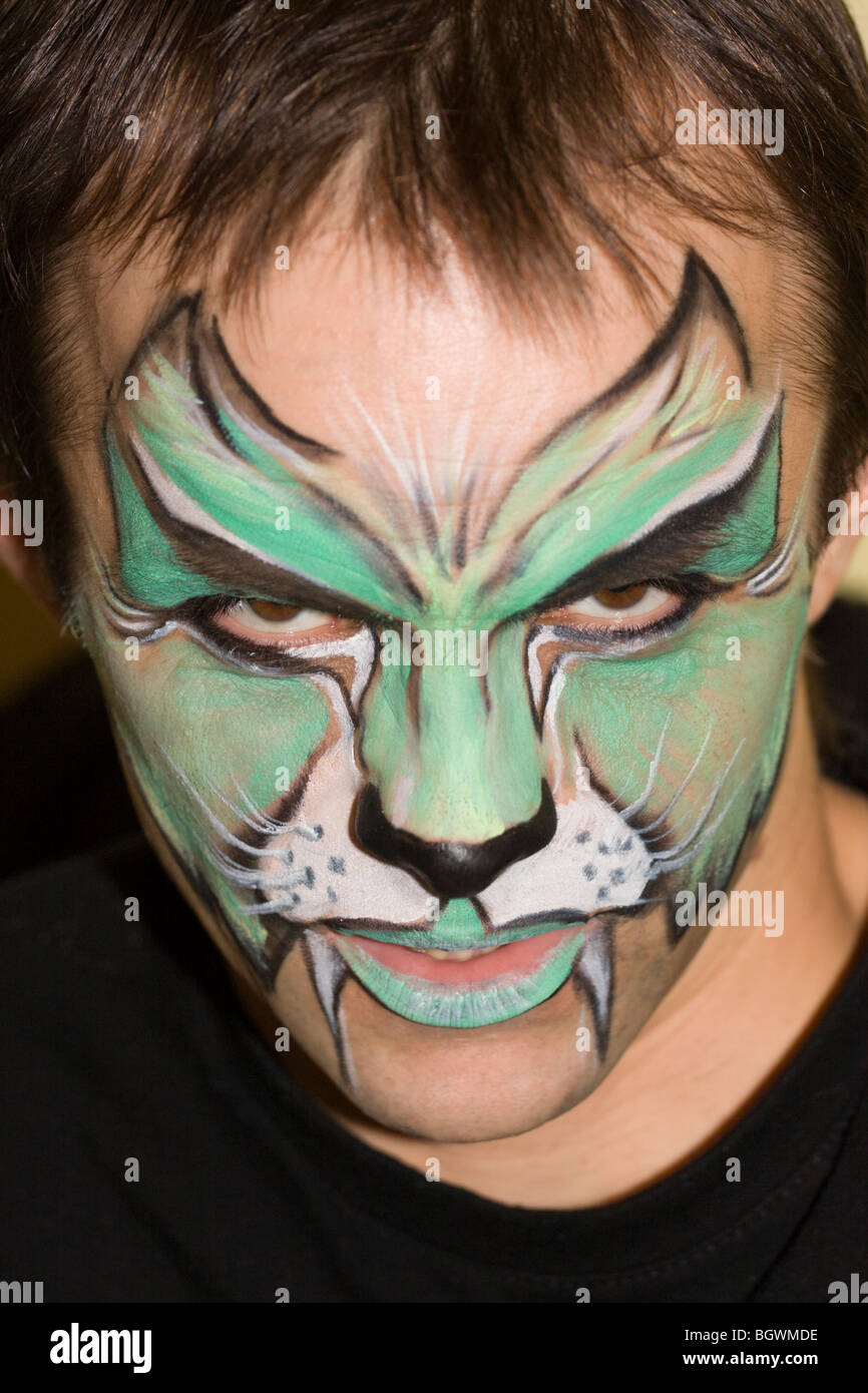 Man with the painted face. - Stock Image