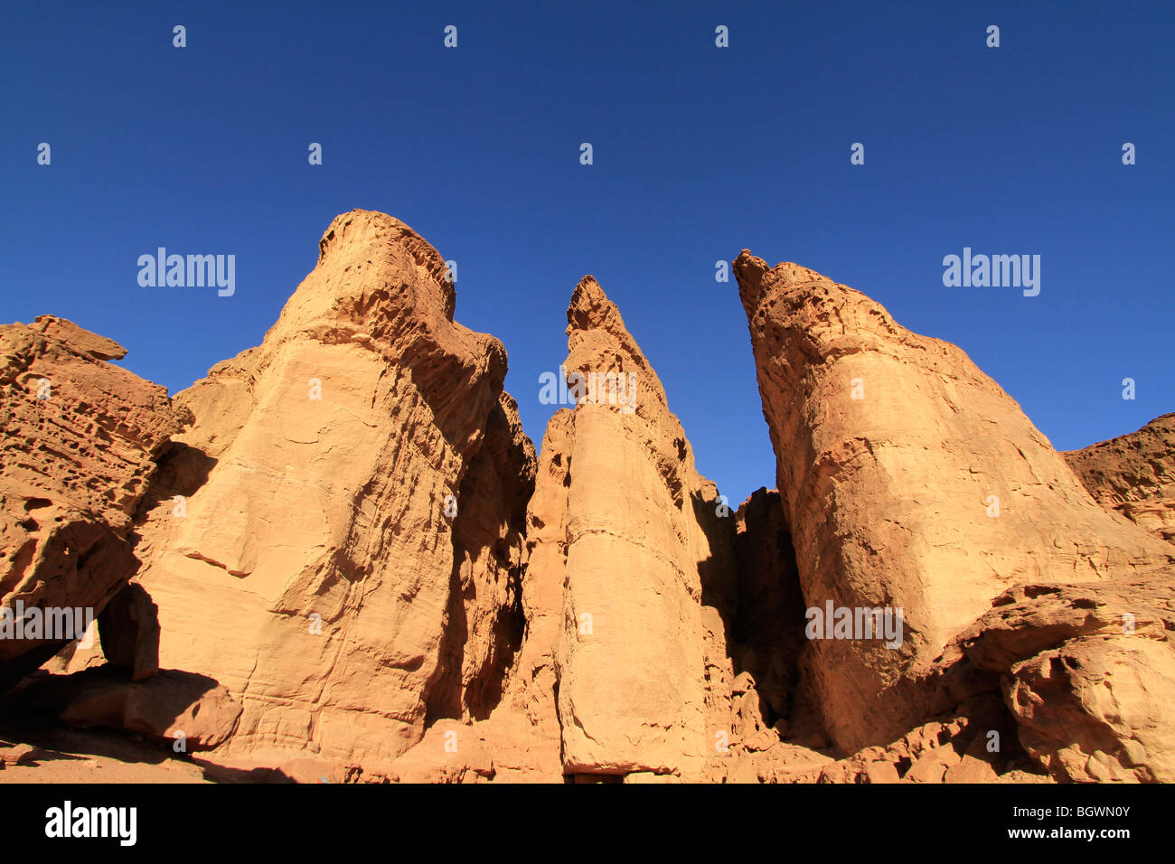 Israel, Eilat Mountains, Solomon's Pillars in Timna Valley - Stock Image