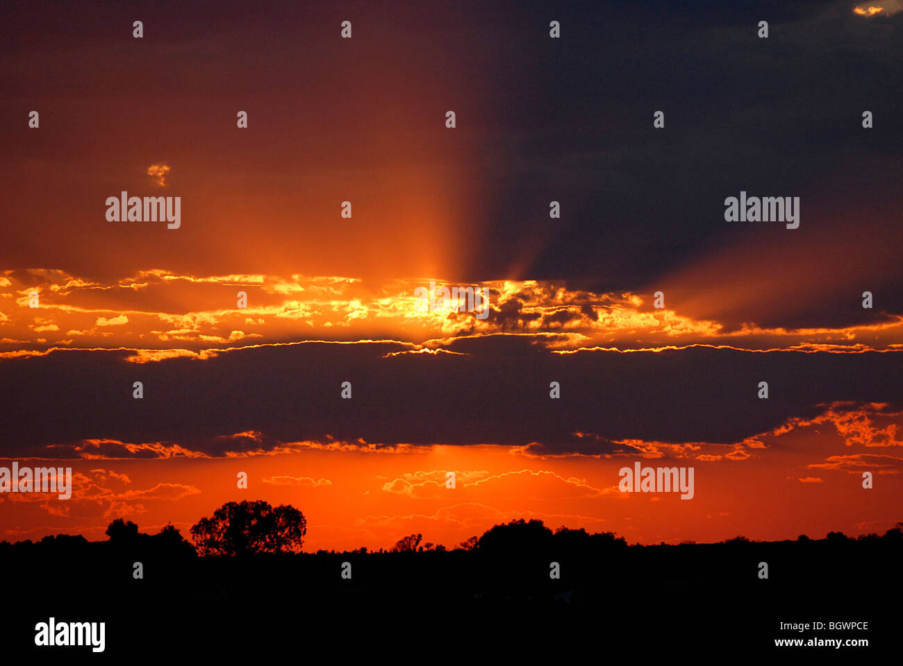 Sunset in the Outback, Australia - Stock Image