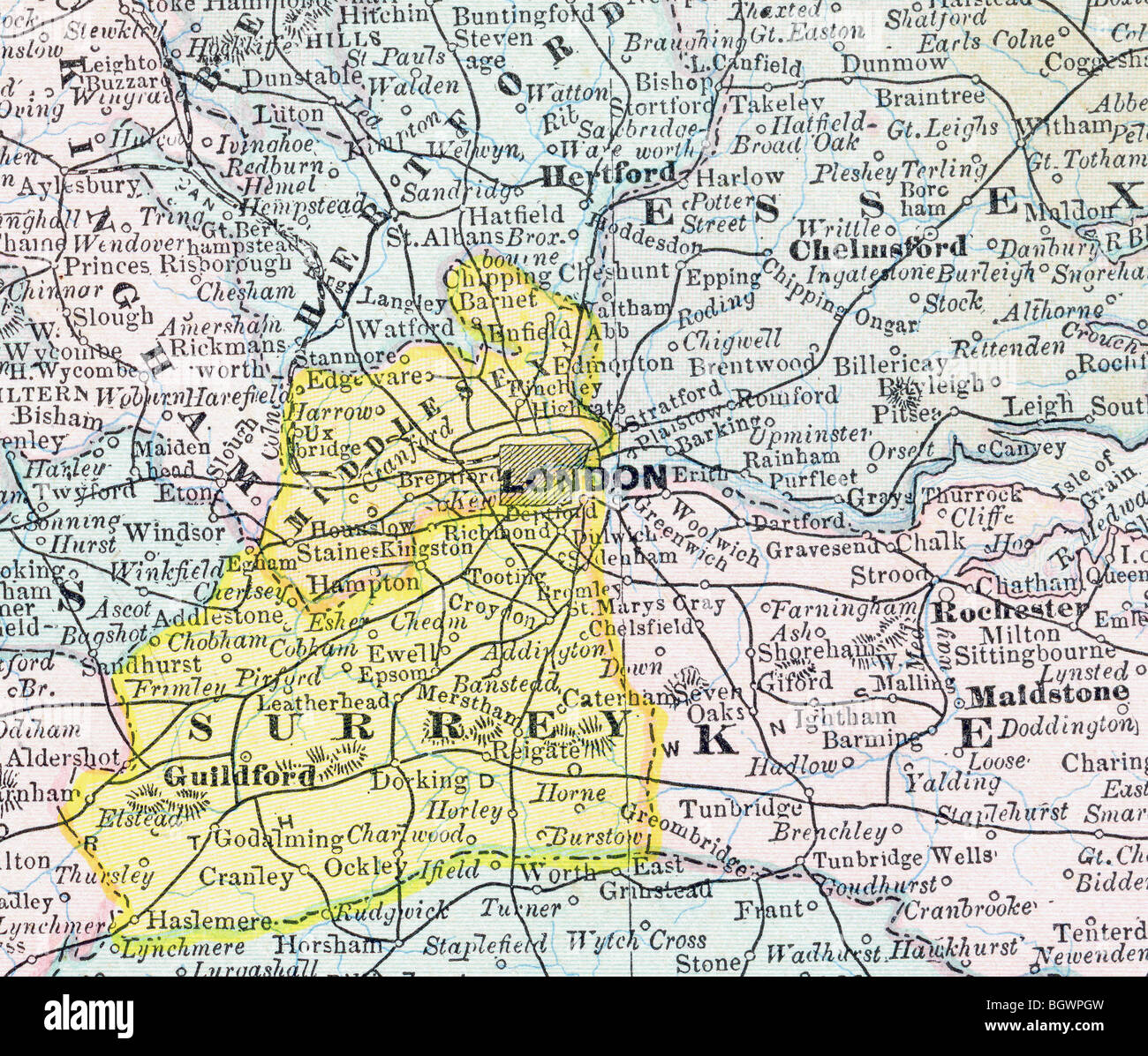 London And Greater London Map.London Map Stock Photos London Map Stock Images Alamy