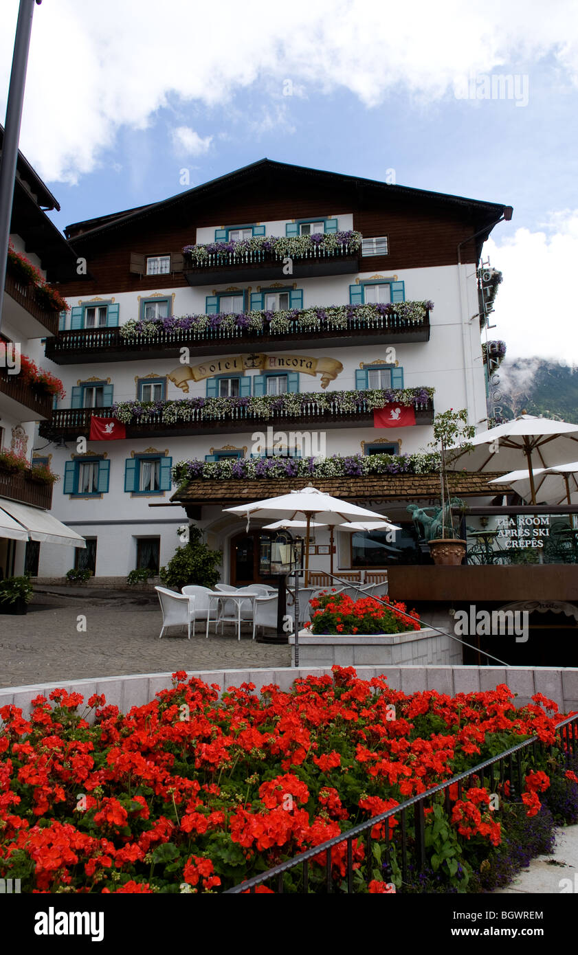 Hotel Ancora of Cortina d' Aamezzo in Italian Alps Dolomites mountains in town center - Stock Image