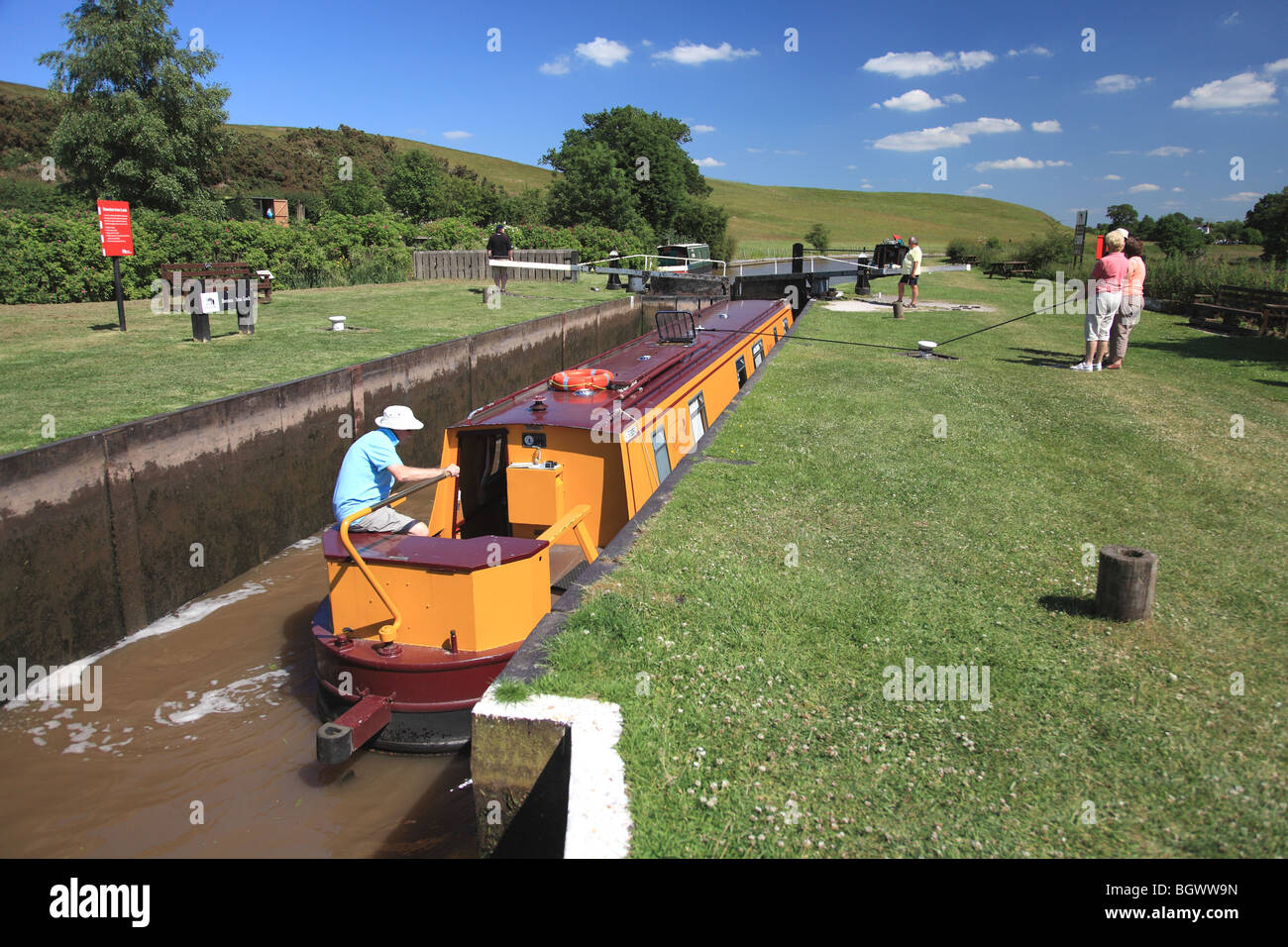 Beeston Iron Lock on the Shropshire Union Canal, made of large iron sheets, was built in 1828. - Stock Image