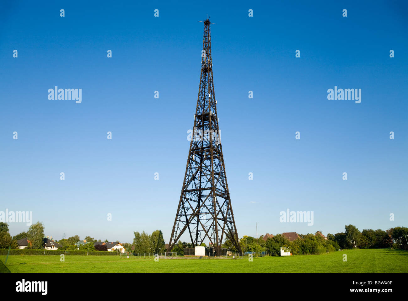 The Gliwice Radio Tower transmission tower of Gliwice, Upper Silesia, Poland, Stock Photo