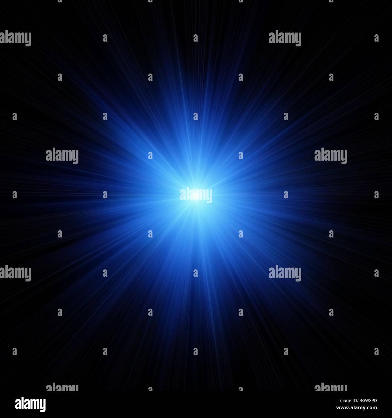 Blue Star Flash On Black Background Stock Photo Alamy