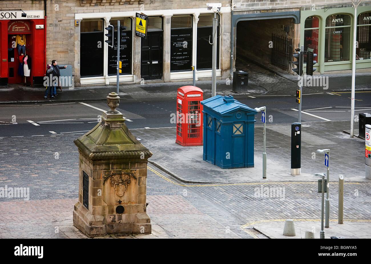 West Bow well. Street furniture. Grassmarket. Edinburgh - Stock Image