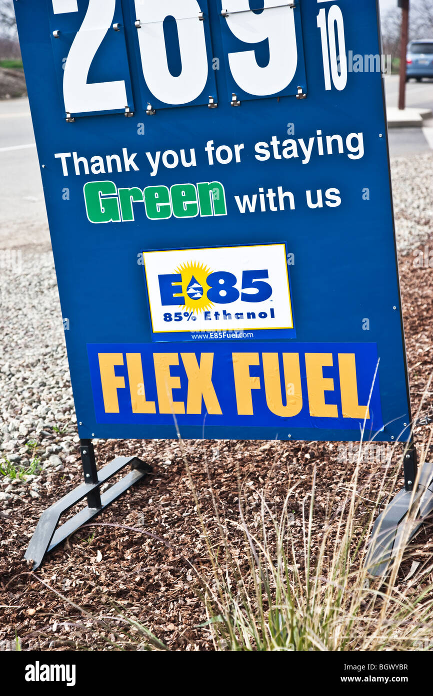 Sign by service station, 'Flex-fuel' , E-85. - Stock Image