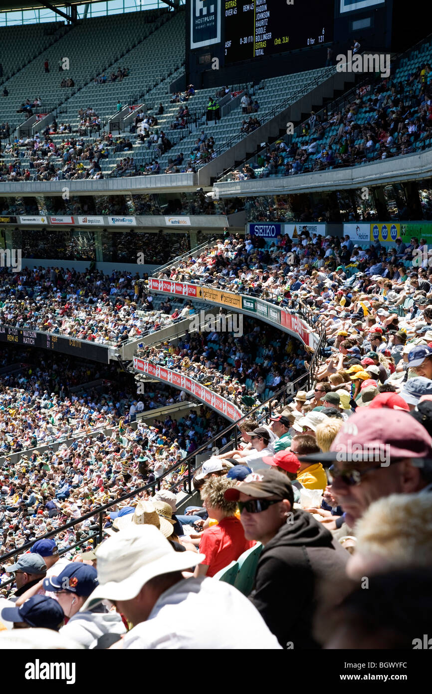 Crowds at Melbourne Cricket Ground, Melbourne, Australia, during the Boxing Day Test Match, between Australia & - Stock Image