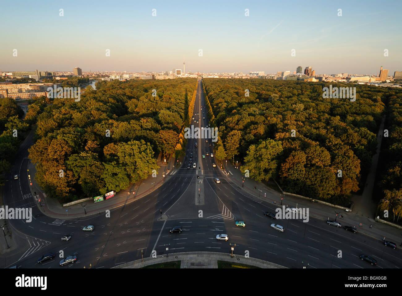 Berlin. Germany. View across the Tiergarten towards Mitte. - Stock Image