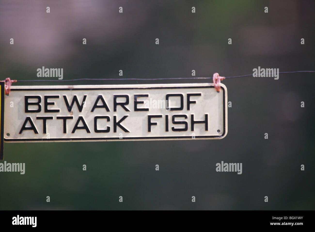 Beware of Attack Fish Sign