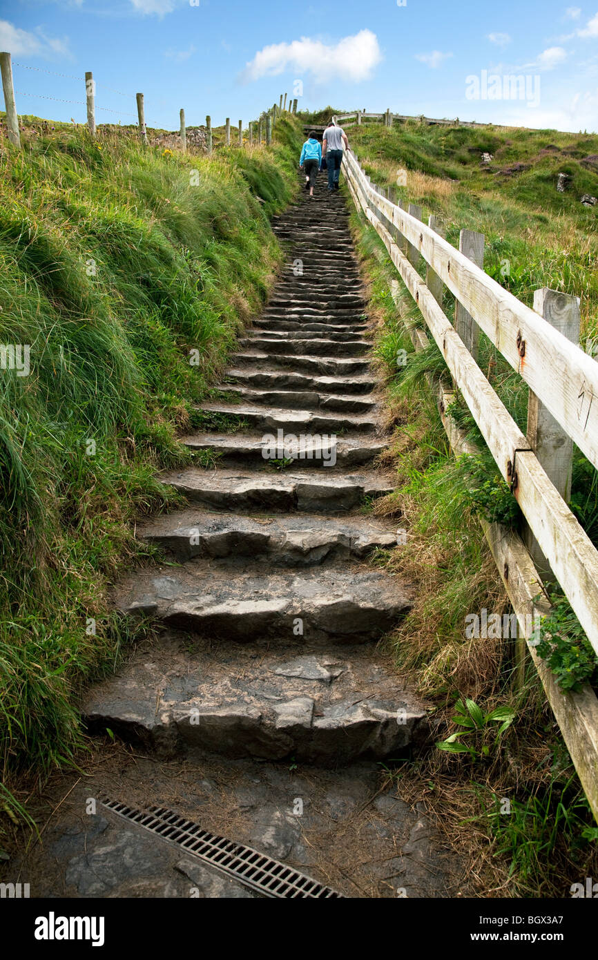 Steps from the Carrick-a-Rede and Larrybane rope bridge. Stock Photo