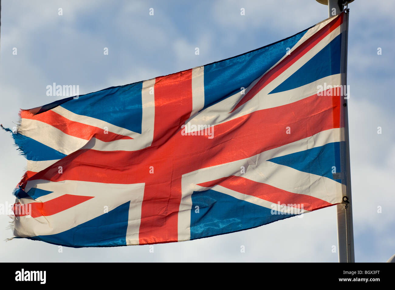 The national flag of the United Kingdom commonly knows as the Union Jack or Union Flag. Stock Photo