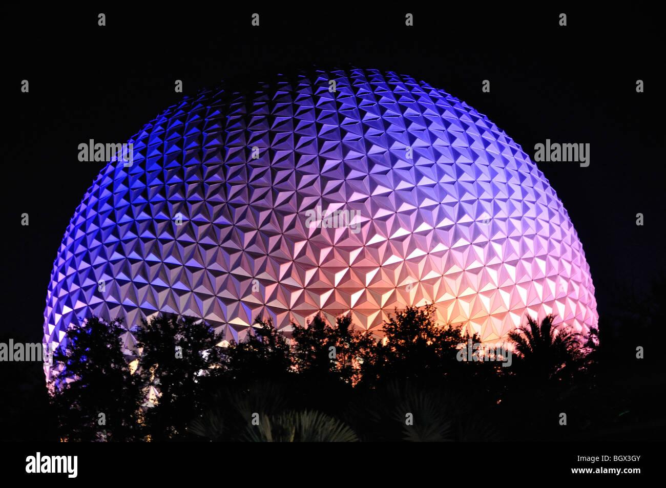 Spaceship Earth at night, Disneyworld, Orlando, Florida, USA - Stock Image