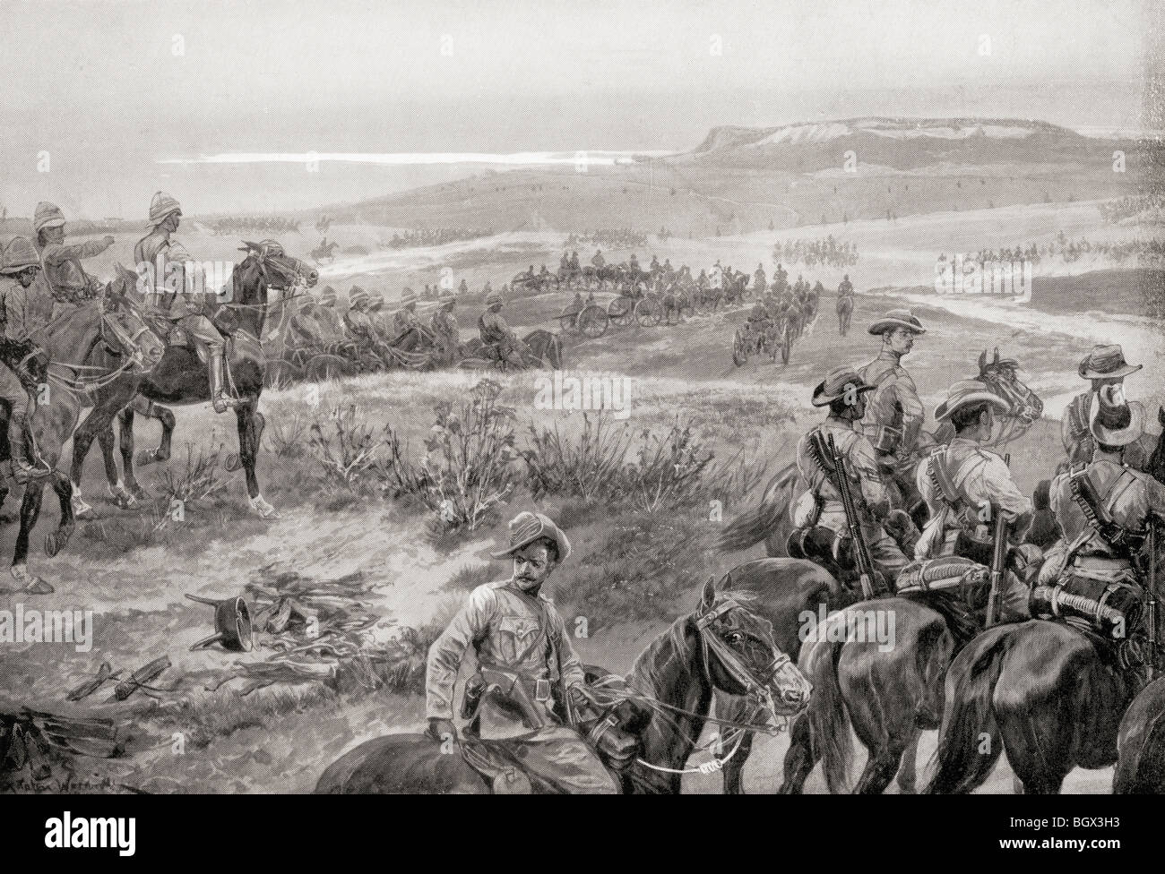 A reconnaissance in force with General French's cavalry near Colesberg, South Africa, during the second Boer - Stock Image