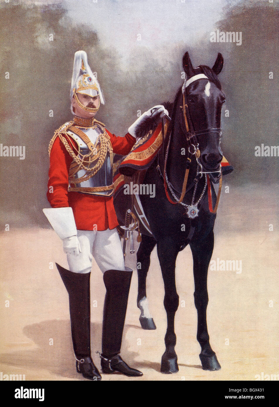 Household Cavalry, Captain, 2nd Life Guards in the 19th century. - Stock Image